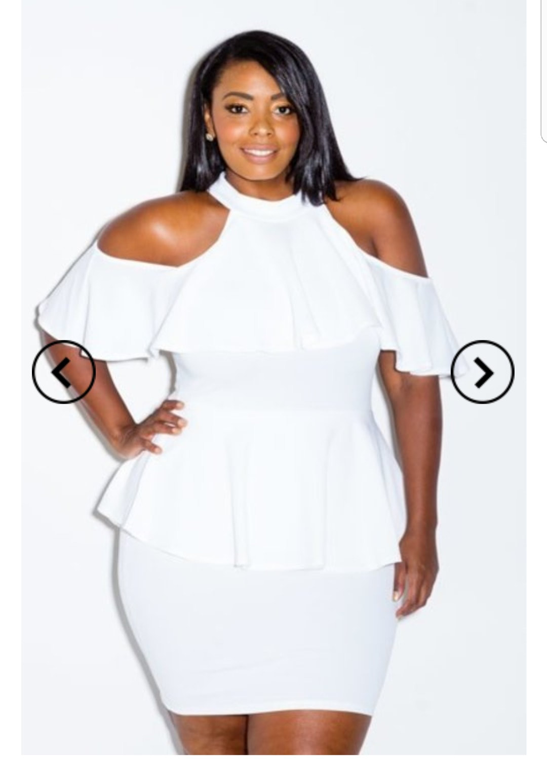 PLUS SIZE- COLD SHOULDER PEPLUM BODYCON DRESS